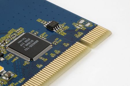 A closeup of a circuit board from a computer component Stock Photo