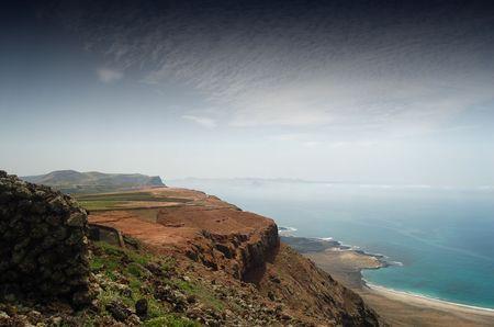 lanzarote: Een deel van de spectaculaire kust van Noord-Lanzarote Stockfoto