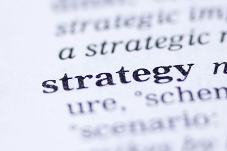 the word strategy written in a thesaurus