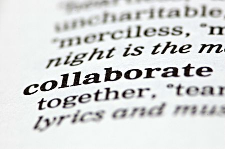 collaborating: The word collaborate written in a thesaurus  Stock Photo