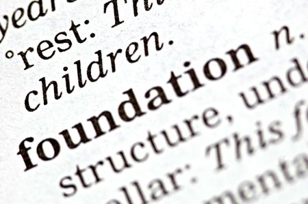 The word foundation written in a thesaurus  Stock Photo