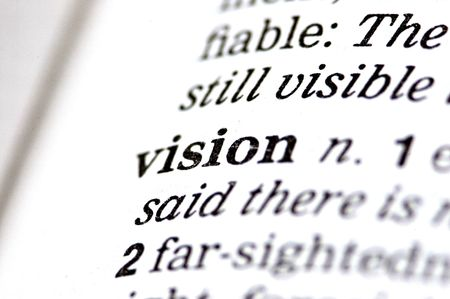 perceptions: The word vision written in a thesaurus  Stock Photo