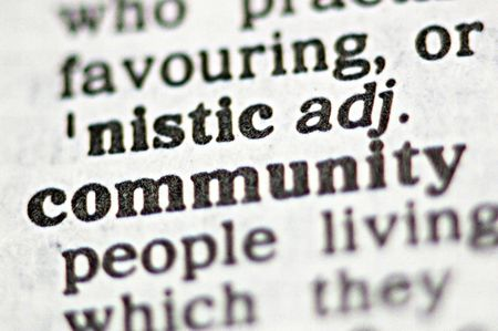 The word community written in a thesaurus