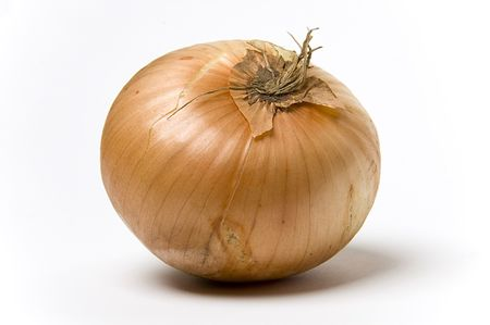 A raw onion shot against a white background