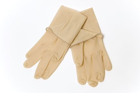 A pair of sterile surgical gloves shot against a white background Stock Photo - 897058