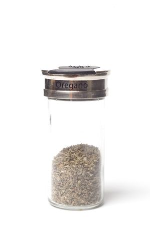 A jar of Oregano isolated on a white backgorund