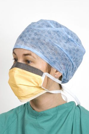 A female surgeon in her sterile surgical clothes
