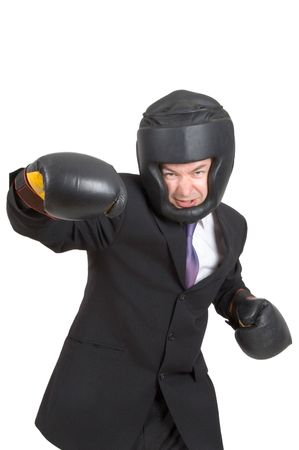 repel: A businessman wearing boxing gear isolated on white