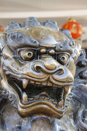 A sculpture of a Chinese dragon shot in closeup