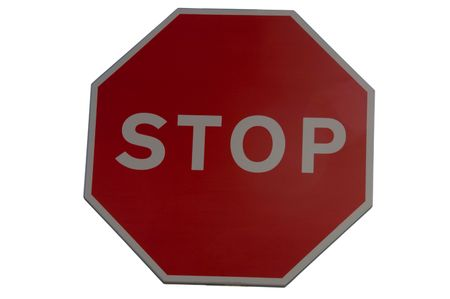 A stop sign shot against a white background
