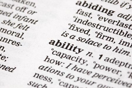 adeptness: The word ability written into a thesaurus Stock Photo