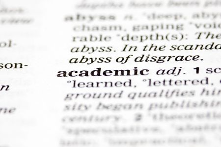 scholastic: The word academic written into a dictionary