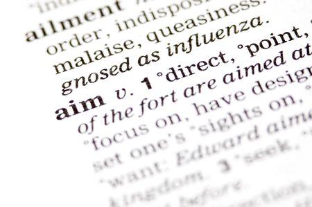 The word aim written in a thesaurus