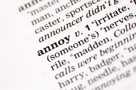 The word annoy written in thesaurus