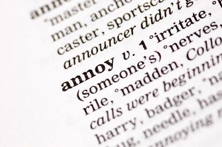 exasperate: The word annoy written in thesaurus