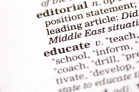 indoctrinate: The word educate written in thesaurus Stock Photo