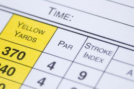 A golf scorecard in extreme closeup