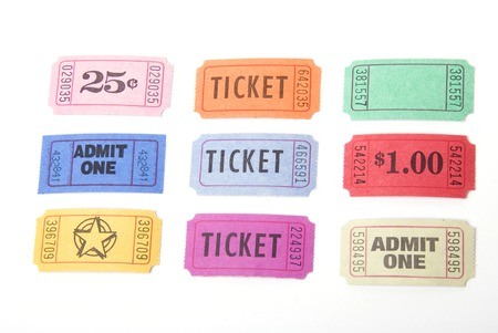 tokens: A variety of tickets shot against a white background Stock Photo