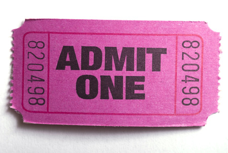 Macro closeup of an admit one ticket
