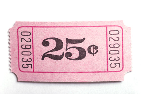 A 25c ticket shot on a white background Stock Photo