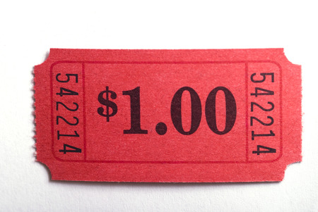 A dollar ticket in closeup on a white background