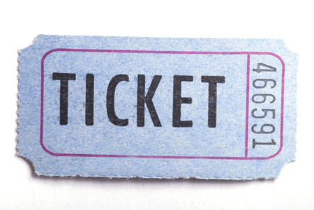 An entrance ticket in closeup on a white background Stock Photo - 1423479