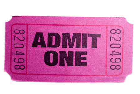 A pink admit one ticket isolated ona white background
