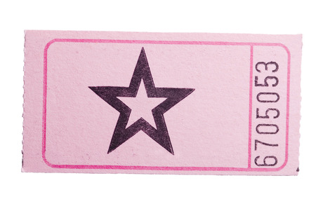 A pink star ticket isolated on a white background