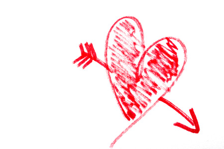 A cartoon love heart drawn on white paper Stock Photo