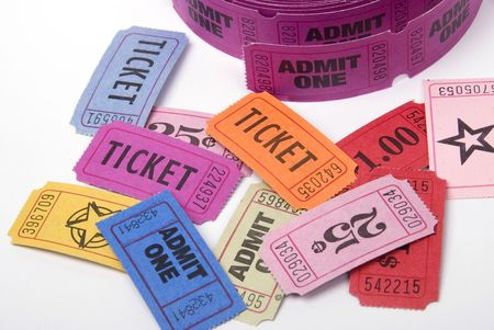 A selection of entrance tickets shot against a white background photo