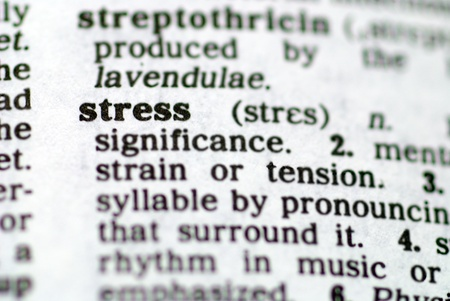 The word stress printed in a dictionary