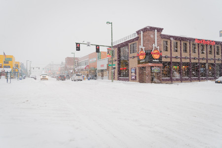 anchorage: City street on a winter day covered with snow, Anchorage, Alaska