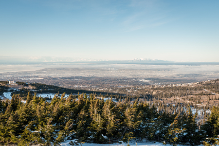 anchorage: Aerial view of Anchorage from the Flattop mountain at winter, Alaska