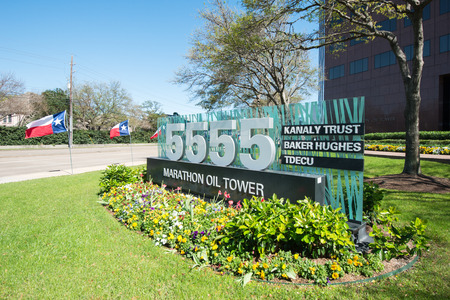 uptown: Marathon Oil Tower is simbolic building in uptown Houston, Texas with Baker Huges, TDECU, KANALY TRUST as tenants. Editorial