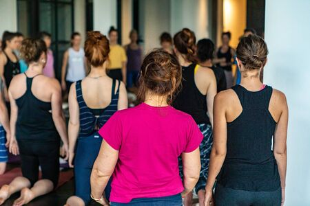 Diverse group of people in yoga class. Women with hair tied up are seen from behind during a sacred yoga session, kneeling on gym mats with arms down by side. Blurry people are seen in same pose.