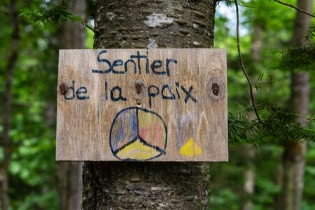 Diverse people enjoy spiritual gathering A closeup view of a small sign with French writing, saying path of peace, nailed to a tree trunk in a woodland retreat for native and multicultural experiences.
