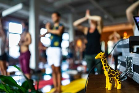 Diverse group of people in yoga class. Blurry people are seen standing in pose behind a small table with decorative giraffe figure inside a gym during 108 sun salutations. Imagens