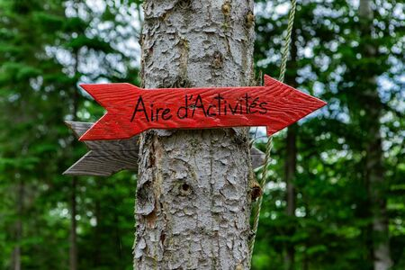Diverse people enjoy spiritual gathering A closeup view of a small red arrow with the French words saying activity area, directions in a woodland retreat., with copy space.