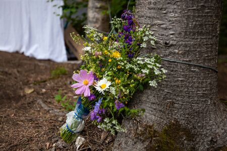 Diverse people enjoy spiritual gathering A closeup view on a colorful bouquet of sacred wildflowers, resting against a tree trunk in a woodland campsite dedicated to healthfulness and mindfulness.