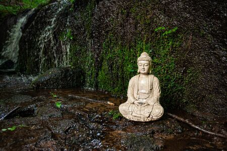 Diverse people enjoy spiritual gathering A sacred buddha statue figurine is seen closeup, against natural mossy rocks in a stream with copy space. Symbolic ornament during nature retreat.