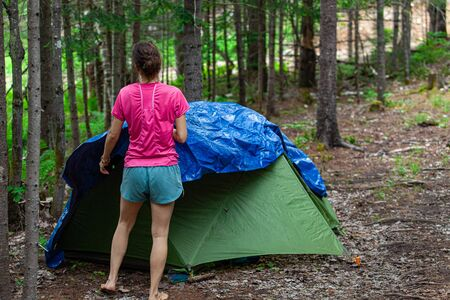 Diverse people enjoy spiritual gathering A slim caucasian woman is viewed from behind, wearing a pink t shirt whilst erecting a tent in a forest clearing at a campsite dedicated to spirituality.