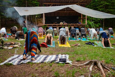 Diverse people enjoy spiritual gathering A large and mixed group of people are seen from the front in downward-facing dog posture (adho mukha svanasana) during a mindful woodland retreat.