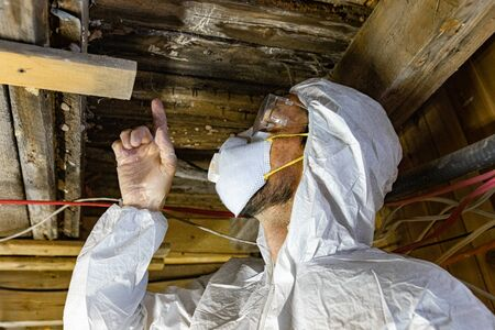 Indoor damp & air quality (IAQ) testing. A close up view of a building surveyor in full PPE (personal protective equipment), wearing white overalls, a respirator and goggles whilst inspecting wood rot.