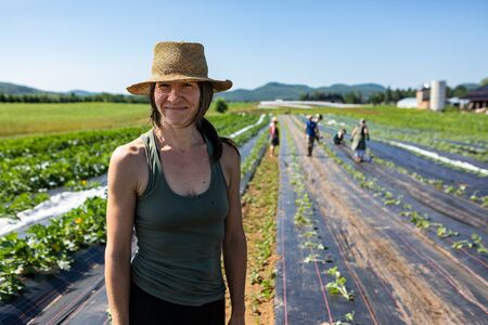 Farmhands tend crops at ecological farm. A close up portrait of a happy and smiling woman standing in a large field at a biological farm, helping out as crops are planted during spring. Stok Fotoğraf