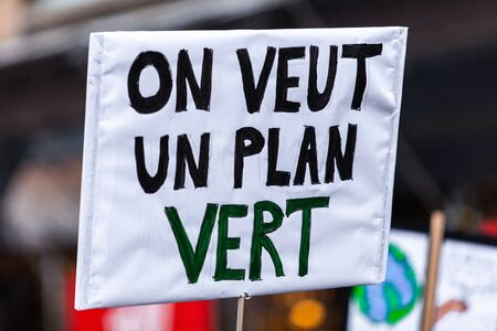 French sign seen in an ecological protest saying we want a green plan Stock fotó