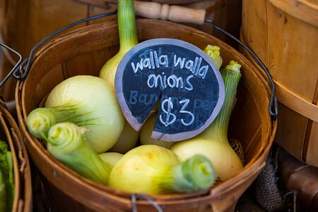 A closeup view of traditional wooden pales filled with walla walla onions, a variety of sweet onion, and a price tag during a local harvest fair