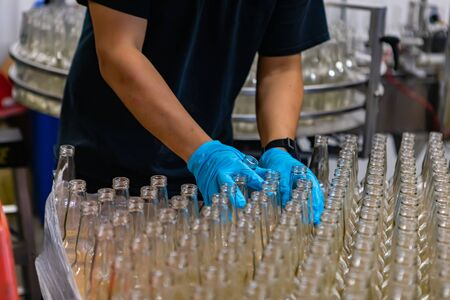 a lot of new beer white glass empty bottle, person hands with blue Rubber glove holding bottles, selective focus close up, beer Craft brewery factory