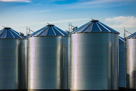 Steel cylinder storage silos are seen on a grain farm beneath a bright blue sky, large scale agriculture industry in Saskatchewan, Canada