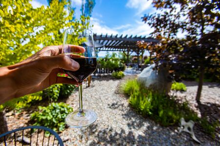 hand holding a glass of red wine selective focus view, outdoor wine tasting, wineries and vineyards of Okanagan Valley, British Columbia, Canada Stock fotó