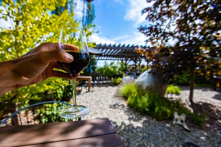 hand holding a glass of red wine in selective focus view against outdoor tasting winery patio concept background, during a beautiful sunny day Stock fotó